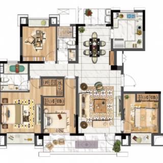星月户型, 3室2厅2卫1厨, 建筑面积约110.00平米