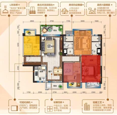 采用长方形的卧室空间设计,合理的长宽比例,更有利于衣柜,书桌等家具
