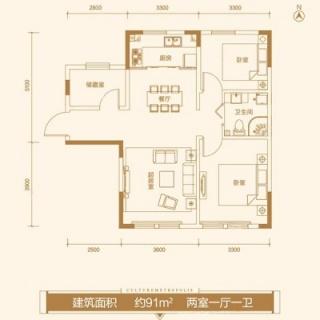 公寓11#标准层91平米户型