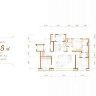 洋房标准层148平户型