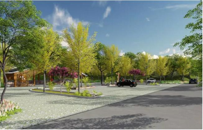 位于决要村口附近,功能上以停车,休功能为主,设置生态停车场,林荫图片