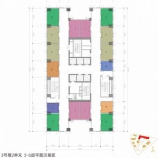 3号楼2单元3-6层平面示意图