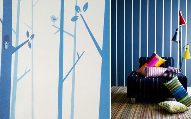 分享2款简单的手绘卧室墙面设计,刷完底漆面漆后,用美纹纸贴出整体