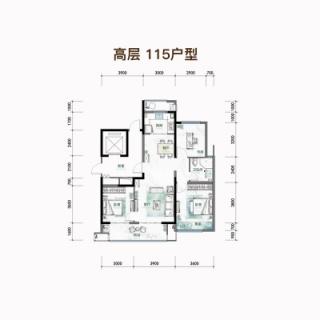 奢阔三房高层建面115平3房2厅一卫