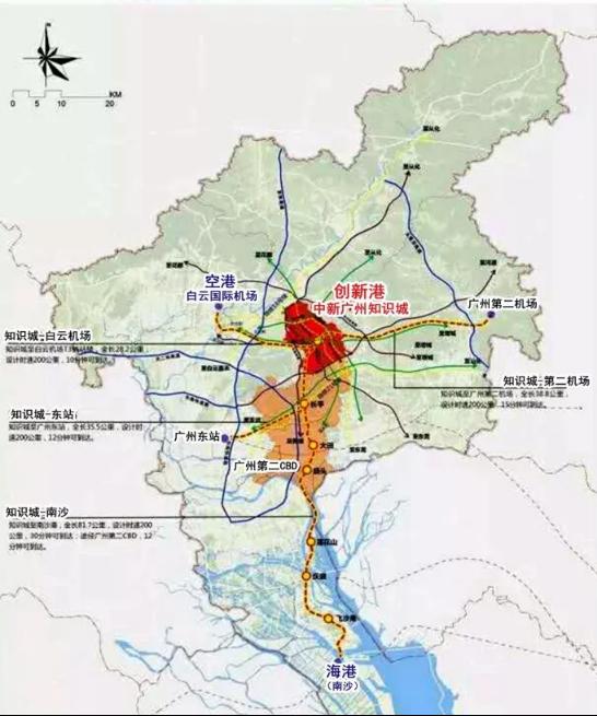 据悉,中新广州知识城目前已建设形成2地铁+1城轨+4高速+4快速的交通网络体系,在穗莞深城际轨道的镇龙站,通过搭乘地铁,即可实现快线5站到天河,可谓高效提速广深港澳科创中心1小时生活圈。与此同时,规划中的知识城-机场、知识城-东站、知识城-南沙和知识城-广州第二机场4条高速地铁,时速达到200公里。开通后,从知识城到白云机场只需10分钟,到达广州东站、南沙只需12分钟,极大降低了出行的时间成本。