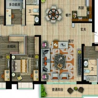 YJ215户型,5室2厅3卫