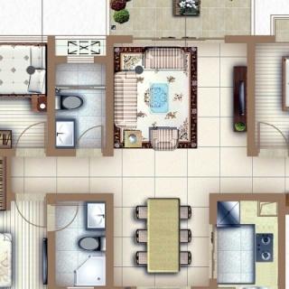 户型C3三房两厅两卫