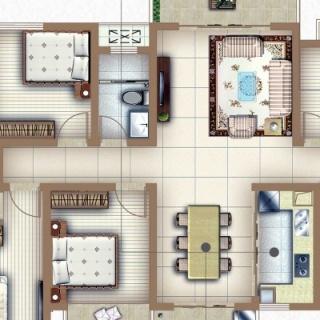 户型E1四房两厅两卫