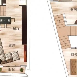 D1户型建筑面积45-56㎡挑高5.5米公寓
