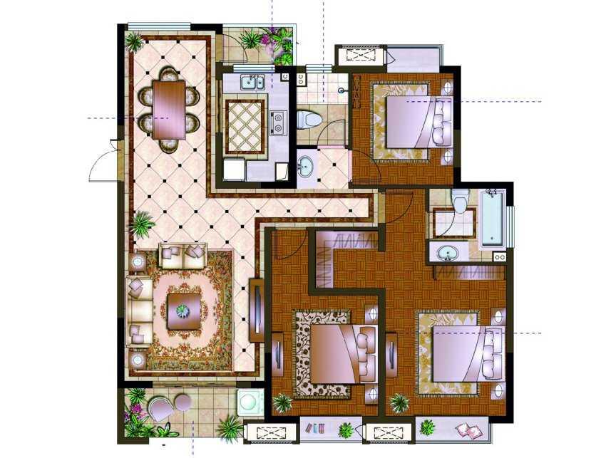 130平米 3室荣域C1户